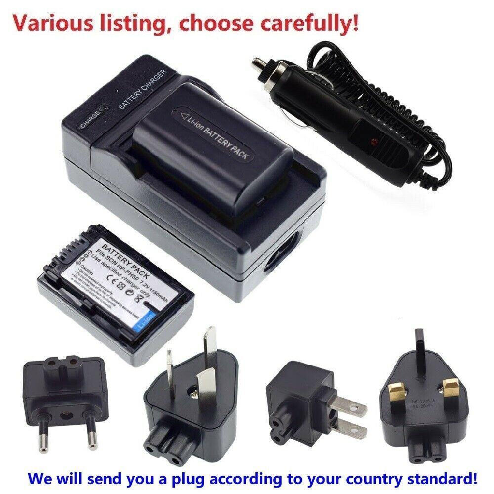 Battery or Charger For Sony NP-FH50 NP-FH40 FH30 A230 A380 A330 DSC-HX1 HX100V