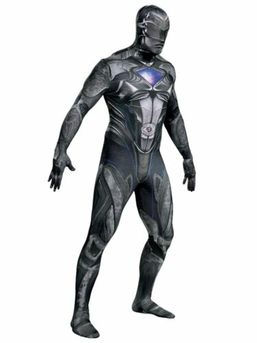 Mens Power Rangers Costume Black Ranger Suit Leotard Bodysuit