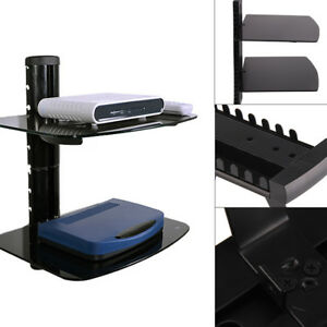 2 Tiers Floating Shelves Glass CD DVD Players Games Consoles Sky Box Wall Mount