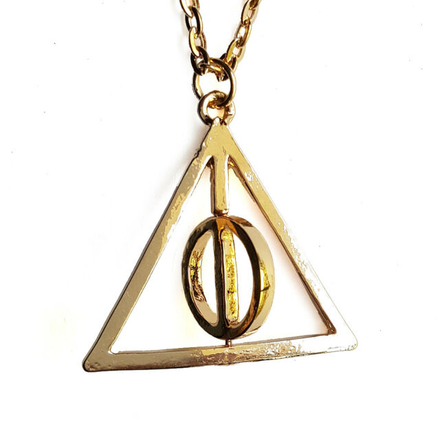 Harry Potter Deathly Hallows Charms Gold Tone Spinning Necklace Pendant