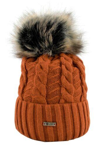 Damen Strickmütze Wintermütze Bommel Kunstfell gefüttert Zopfmuster CO0651524