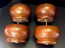 Set 4 Large Walnut Wood Bun Feet Legs Sofa Furniture Repair DIY 5.25x3.75 NEW