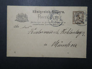 Bavaria-1891-3Pf-Postal-Card-to-Munich-Z12320