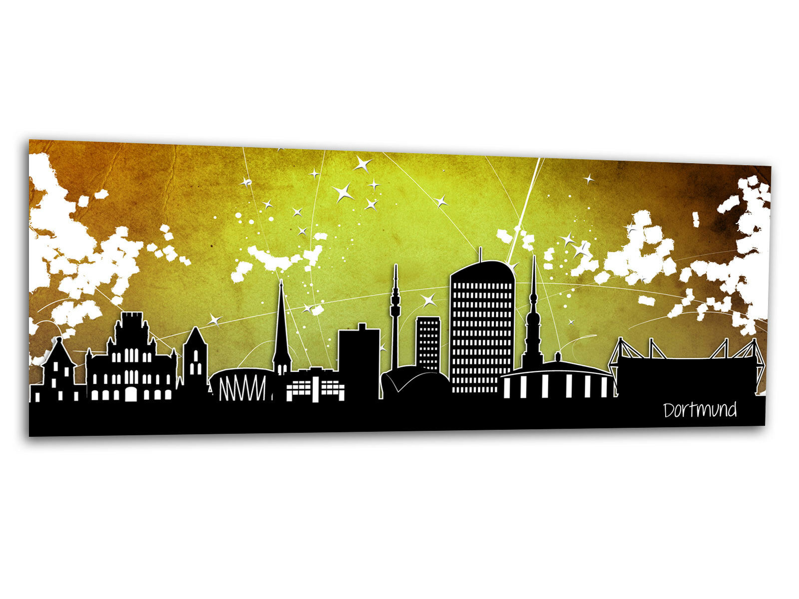 Verre-image LA FRESQUE Dortmund étoiles jaune ag-00764 125 x 50 cm