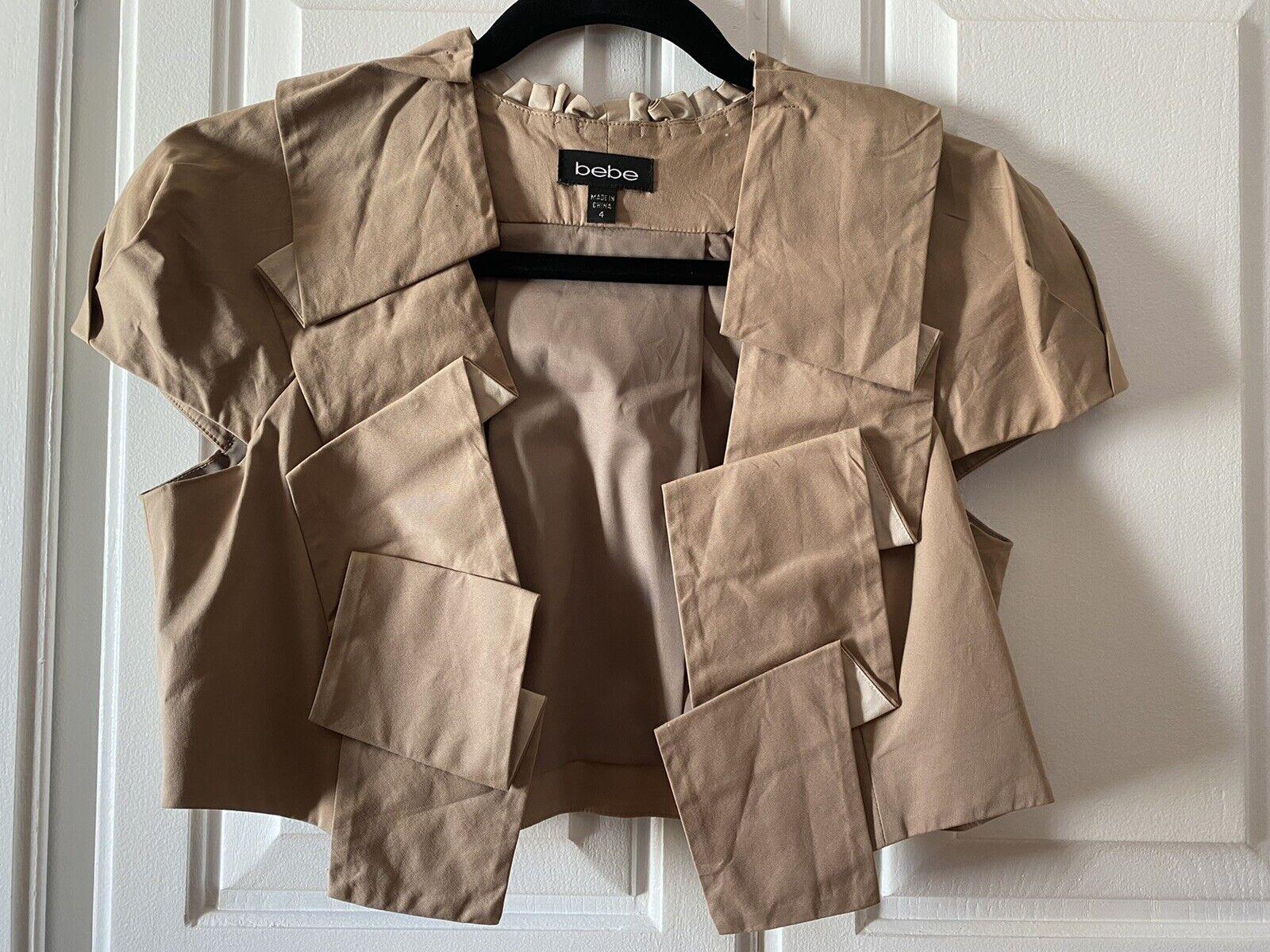 bebe Short Sleeve Cotton Jacket Top Dressy Short Crop Size 4