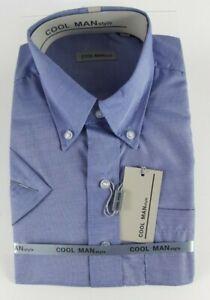 Camicia-classica-uomo-Cool-Man-manica-corta-collo-Button-down-Celeste-art-282
