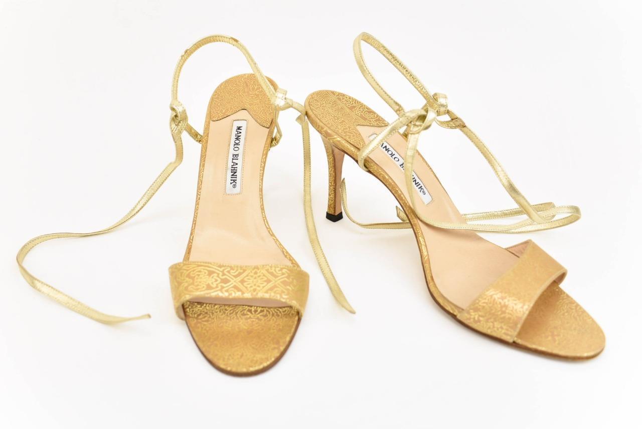MANOLO BLAHNIK BLAHNIK BLAHNIK  Tan gold, Leather, Sandals Heels Sz  9M 919d1c