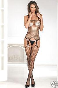 6ceb228dfa Image is loading Rene-Rofe-Industrial-Net-Suspender-Bodystocking -Intimates-Assorted-