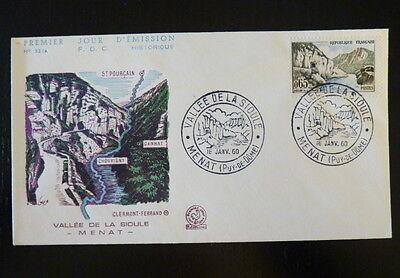 Architecture Topical Stamps France Premier Jour Fdc Yvert 1239 Vallee De La Sioule 0,65f Menat 1960