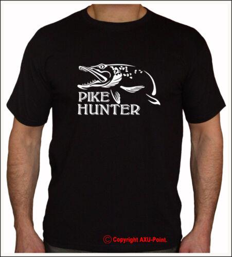 pêche la carpe Crew Tee T-shirt Noir S-XXL Pike brochet carpe HUNTER CHASSEUR HUNTER