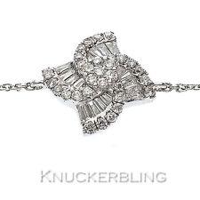 Round Brilliant & Baguette Diamond Cluster Bracelet 0.40ct F VS 18ct White Gold