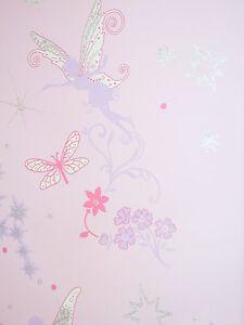 Details zu Tapete Kinderzimmer Fairies Elfen Feen pink mit Silber Glitter  Glitzer Mädchen