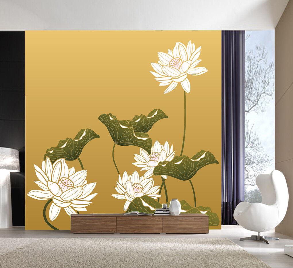 3D Kunst Lotus Malerei 9476 Tapete Wandgemälde Tapeten Bild Familie DE Lemon  | Eine Große Vielfalt An Modelle 2019 Neue  | Verwendet in der Haltbarkeit  | Förderung