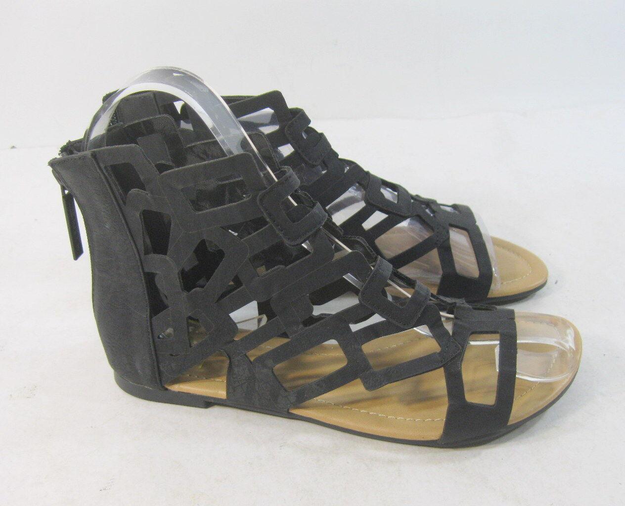 new Womens Toe Summer Black Womens Open Toe Womens Flat Sexy Cool Sandal Size 7.5 f252f1
