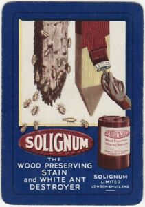 Playing-Cards-1-Single-Card-Old-Wide-SOLIGNUM-WOOD-STAIN-Advertising-Art-Design