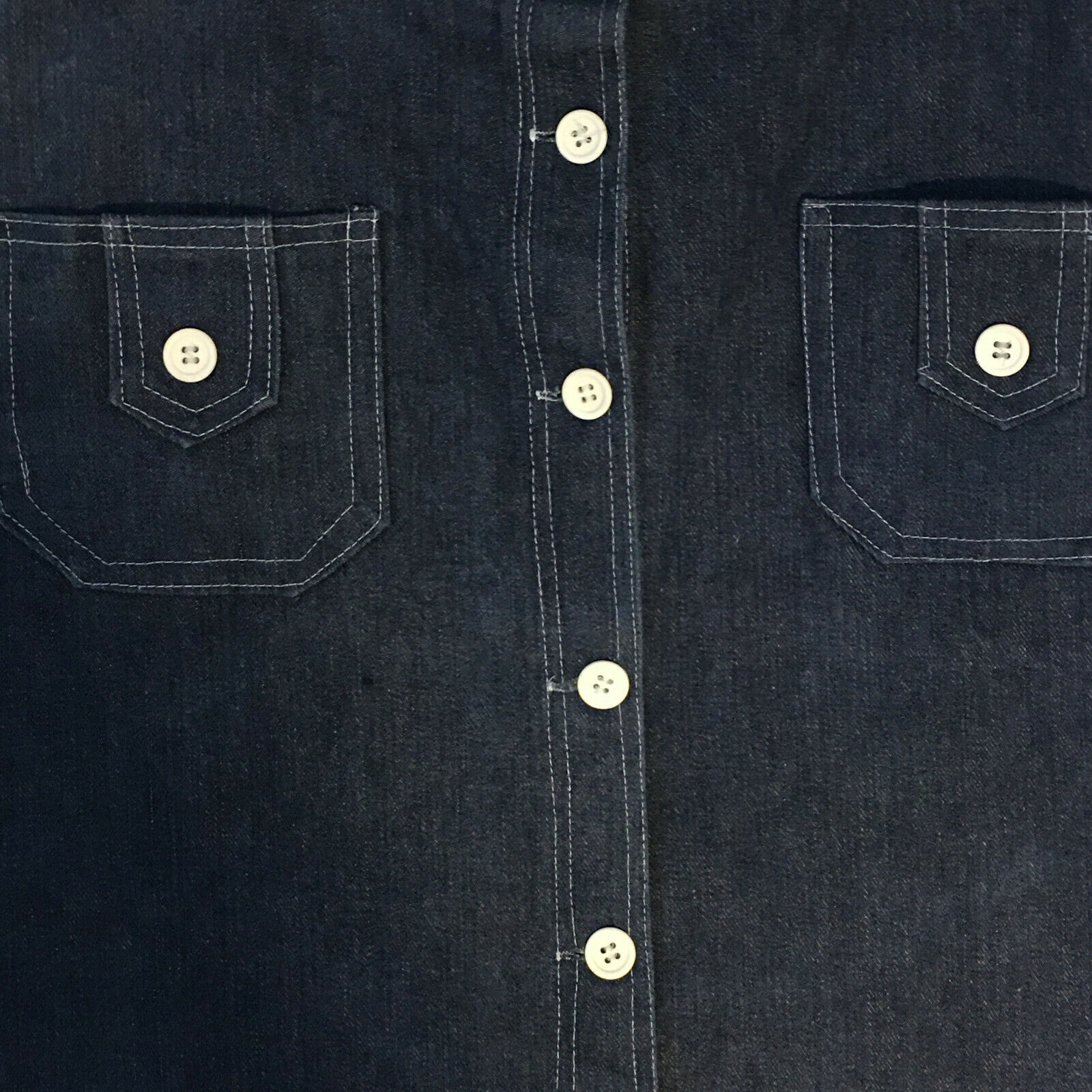 Peekaboo A-Line Vintage Inspired Denim Button Fro… - image 3