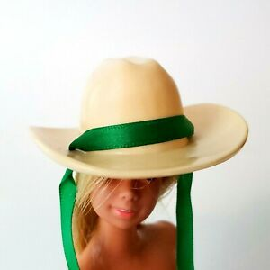 Vintage-Barbie-Cowboy-Hat-Off-White-Tan-Philippines-Western-Doll-Hat-MINT