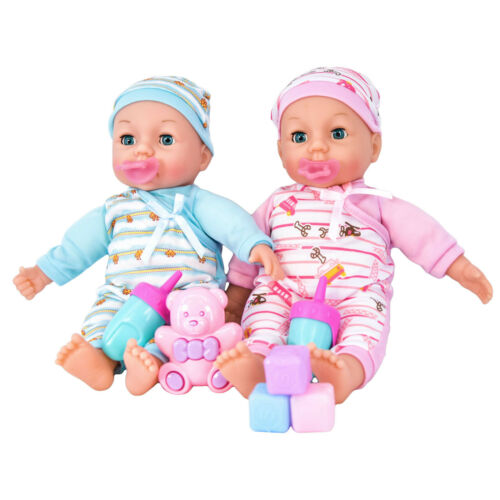 Twins-Baby-Girl-amp-Boy-Twin-Dolls-Babies-Gift-Set-Dummy-Toy-Doll-Accessories