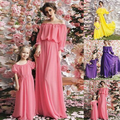 US Women Family Solid Color Matching Kids Girl Pageant Dresses Tutu Outfits New
