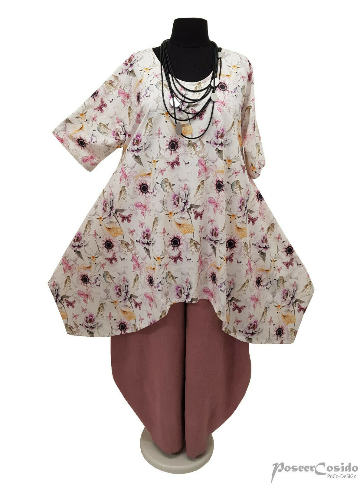 LAGENLOOK Oversize Long-Shirt Tunika L-XL-XXL-XXXL 44 46 48 50 52 54 56 58 blau