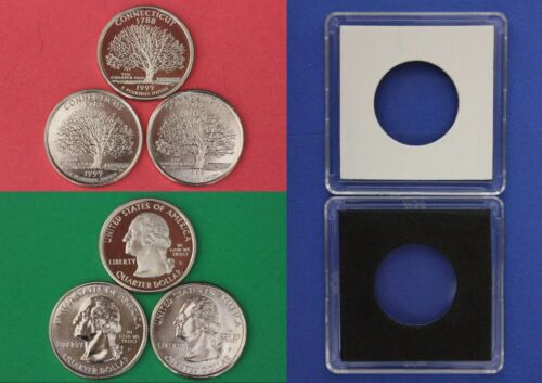 1999 D P S Connecticut Quarters With 2x2 Cases From Mint Sets Combined Shipping