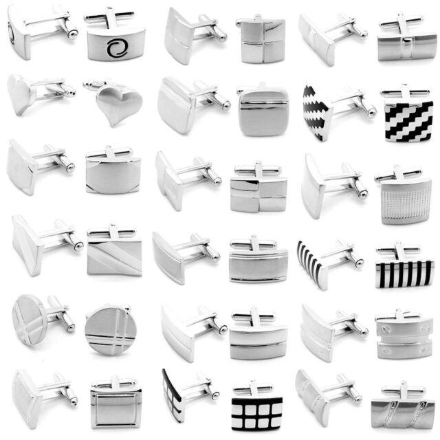 Manschettenknöpfe für Hemd und Krawatte Edelstahl gebrürstet glänzend Etuis Box
