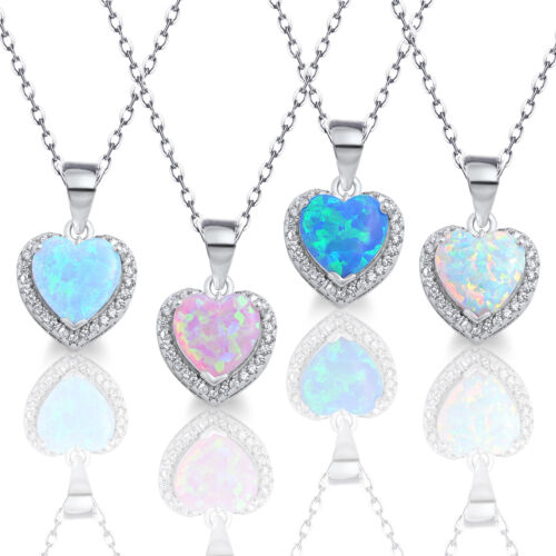 Opal Heart Necklace Simulated Diamonds Genuine Sterling Silver