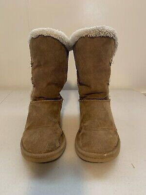 New Girls Old Navy Black Sueded Faux-Fur Cuff Boots Size 1 2