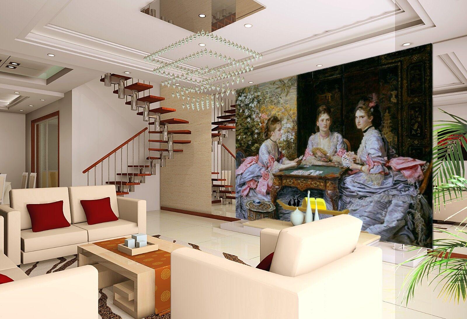 3D Ölgemälde Mädchen 8893 Tapete Wandgemälde Tapeten Bild Familie DE Lemon