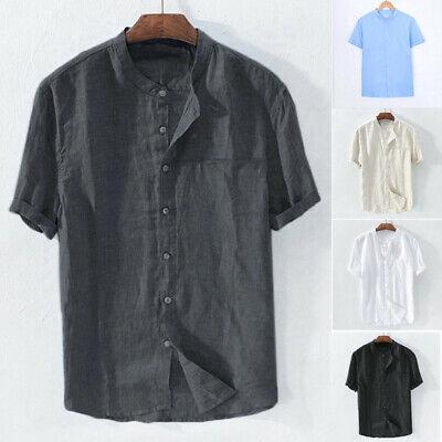 Men/'s Baggy Cotton Linen Solid Color Tee Short Sleeve Retro T Shirts Tops Blouse