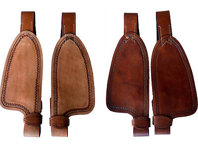 """9/"""" 10/"""" 12/"""" Children/'s Youth Western Saddle Leather Replacement Fenders 2-colors"""