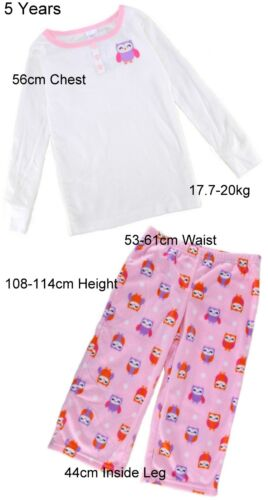 CARTER/'S Girls PYJAMAS Long Sleeve Top Fleece Bottoms OWL Design PINK White