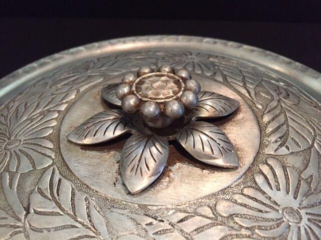 Vintage Everlast Hand Forged Metal Silver Aluminum Serving Bowl w/Handles & Lid