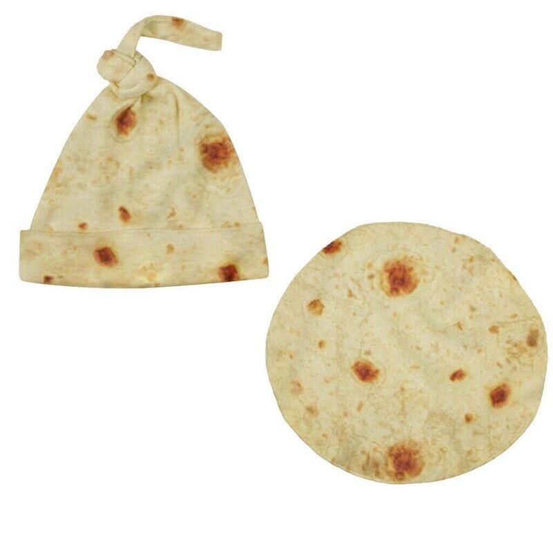 """ORIGINAL Tortilla Blanket Burrito 82/"""" Blanket Texture Fleece Kids Cap Adults"""