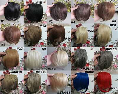 "Lot 8"" Human Hair Clips In Extensions Front Bang Fringe Wig More Colors 20g/pcs"