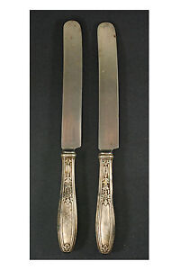 Vintage-Silver-Plate-9-1-2-034-Knives-Made-By-Insico-Stainless-Lot-of-2
