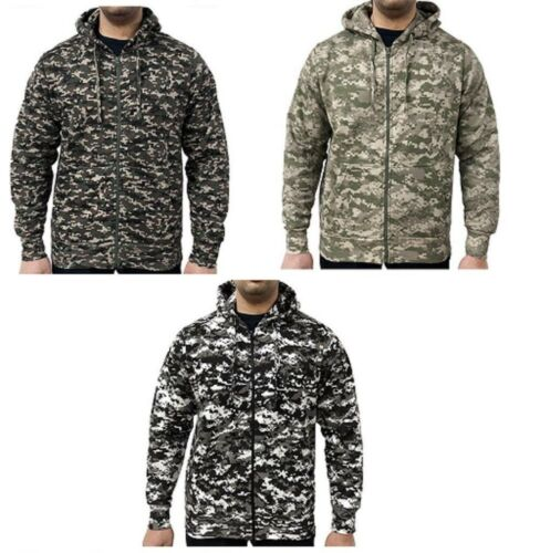 Game Men's Poly/Cotton Digital Camouflage Full Zip Hoodie Plain Hooded Top Camo