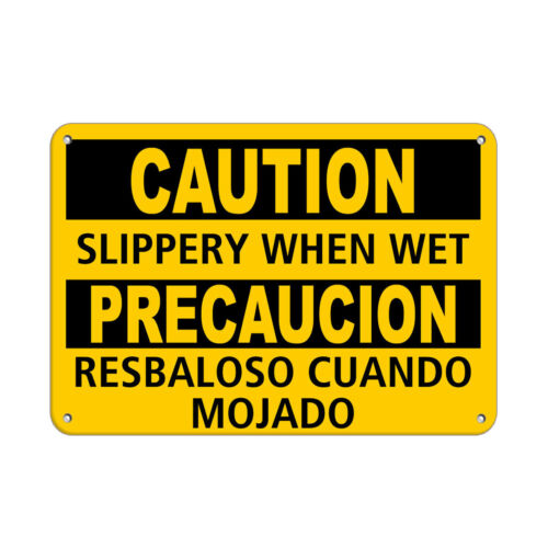 Horizontal Metal Sign Multiple Sizes Slippery Precaucion Resbaloso Cuando Mojado