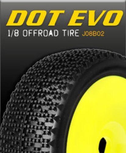 James Racing Dot Evo 1//8 buggy pneu Pré-Monté Collé jaune plat jante roue Soft