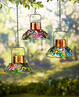Colorful Solar Garden Metal Lamp Light Hanging Outdoor Lawn Deck Yard Home Décor
