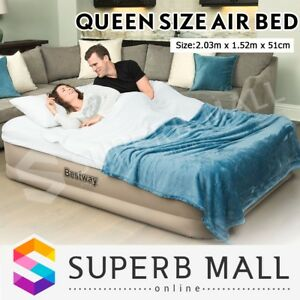Queen Size Airbed Blue Air Mattress Camping Travel Blowup Inflatable Guest Bed