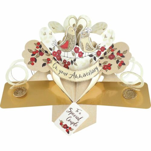 3D Pop Up Card Special Couple Wedding Anniversary Love Birds Greeting Cards
