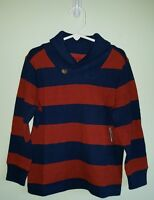 Old Navy Boys 12-18 Mo 2t 3t 4t 5t Long Sleeve Shawl Collar Shirt Navy Blue Rust
