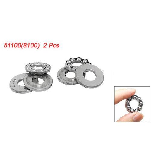 2 Pcs 10 x 24 x 9mm 51100 Single Direction Thrust Ball Bearings LW SZUS