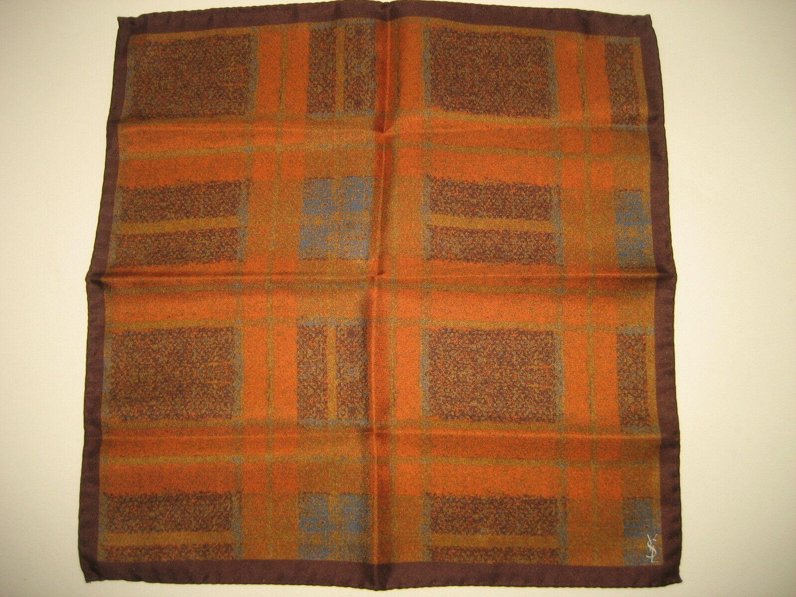 NEW Yves Saint Laurent YSL Orange/Brown Silk Handkerchief Pocket Square 13