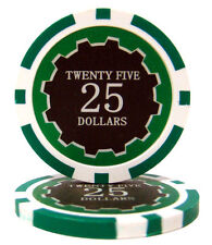 "25 ct Green $25 Twenty-Five Dollars ""Eclipse"" Series 14 Grams Poker Chips"