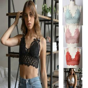 Hot-Women-039-s-Sexy-Floral-Crochet-Lace-Spaghetti-Strap-Bralette-Crop-Bikini-Top