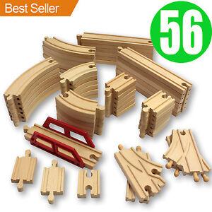 new 56 wooden train track pack set wood thomas brio chuggington straight curved ebay. Black Bedroom Furniture Sets. Home Design Ideas