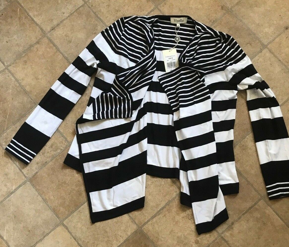 Brand new ladies Viyella navy striped cardigan size medium RRP