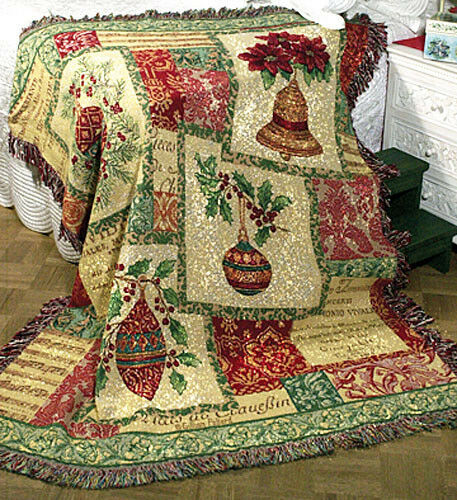 Occasions of the Season  Christmas Ornaments & Bulbs Tapestry Afghan Throw
